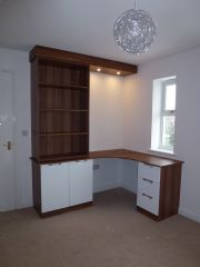 click to see larger image of Bespoke Office Furniture in Walnut with Gloss White Doors/Drawers. Installed  in Bristol