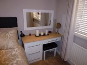 click to see larger image of Bespoke Dressing Table with White Gloss Drawers and Oak Top to match Robes.  Fitted in Bridgend, South Wales