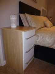 click to see larger image of Bespoke Oak Chest with White Gloss Drawers. Fitted in Bridgend, South Wales
