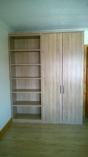 click to see larger image of Master robe & open bookcase in Sonoma Oak finish. Assembed in Talbot Green, Pontyclun, RCT, South Wales