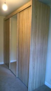 click to see larger image of Imola slinding door robe (2.5m) in Sonoma Oak finish. Assembed in Radyr, Cardiff, South Wales