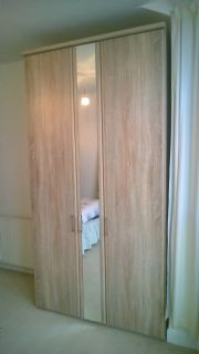 click to see larger image of Luxor Robe in Sonoma Oak finish. Assembed in Heath, Cardiff, South Wales