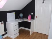 click to see larger image of Made To Measure Desk unit. In White Gloss. Fitted in Maesteg, South Wales
