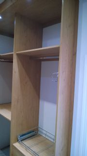 click to see larger image of Bespoke Walk in Wardrobe with LED lights. Fitted in Cowbridge, Vale of Glamorgan, South Wales