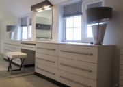 click to see larger image of Bespoke Dressing Table and Chest of Drawers with Lights. Fitted in Penarth, South Wales