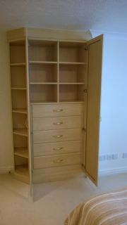 click to see larger image of Bespoke Wardrobe and Open Angled Unit. Installed in Bristol, South West England