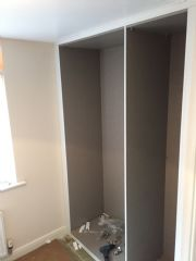 click to see larger image of Rauch Master white framed units fitted into a alcove. Fitted in Brackla, Bridgend, South Wales