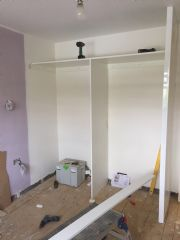 click to see larger image of Classic Sliding Door System with a white gloss carcass. Fitted in Cwmbran, South Wales
