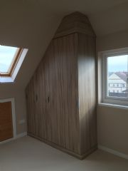 click to see larger image of Bespoke Angled Robes in Sonoma Oak. Fitted in Porthcawl, Bridgend, South Wales